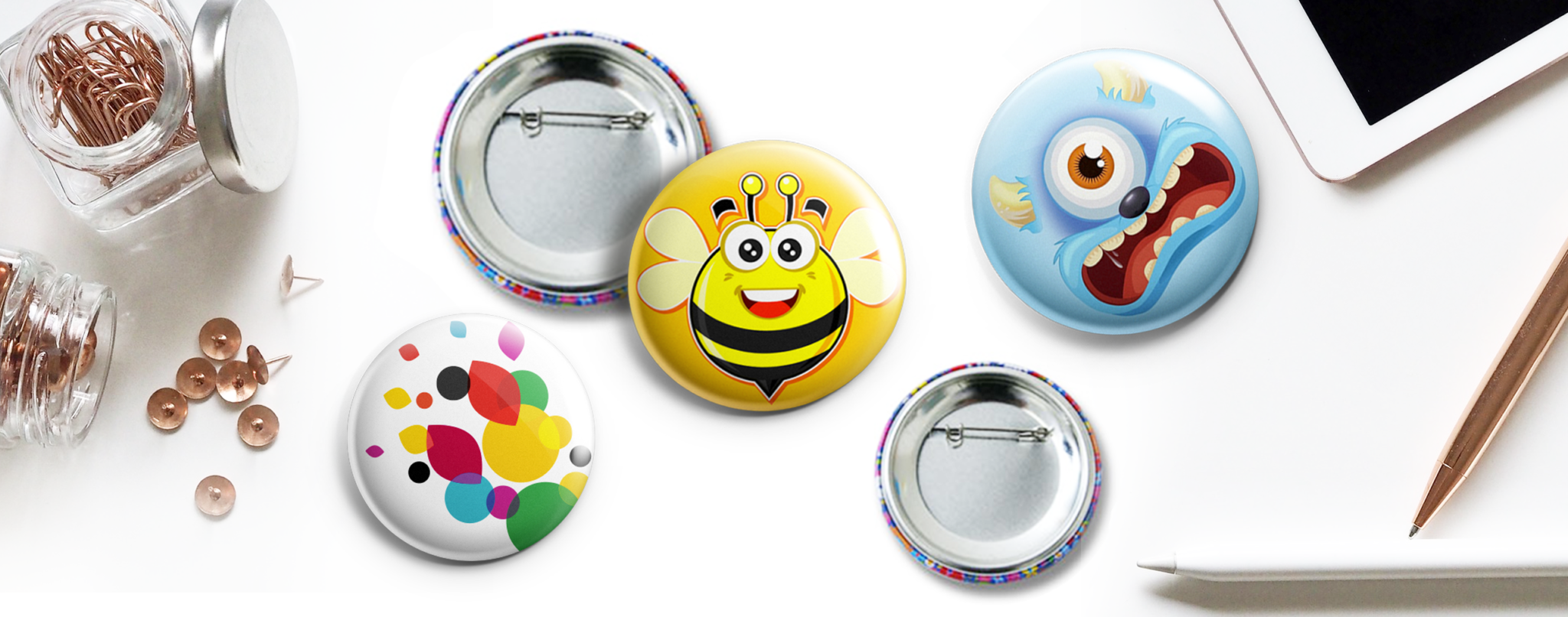 custom button pins design and printing services Australia